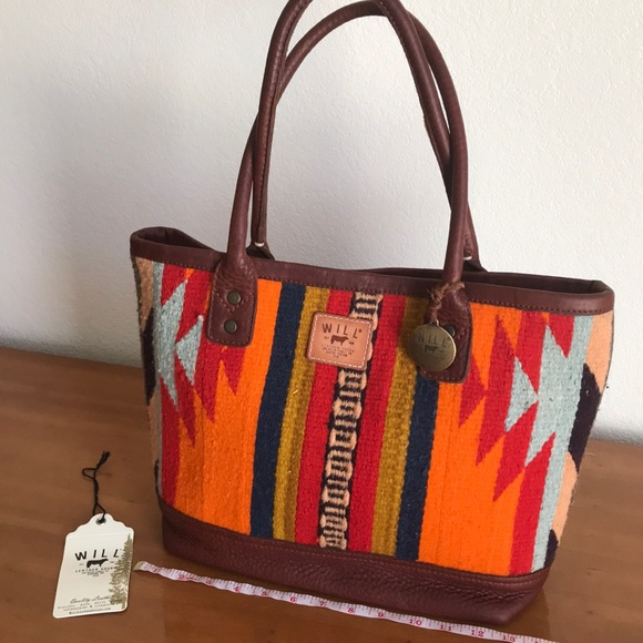Will Leather Oaxacan Textile   Leather Tote 046a2a0a1265f